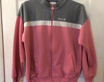 Vintage Adidas Women's Track Jakcket in Baby Pink/Grey/White - large