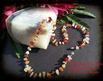 "17 1/2"" Red Agate Necklace"