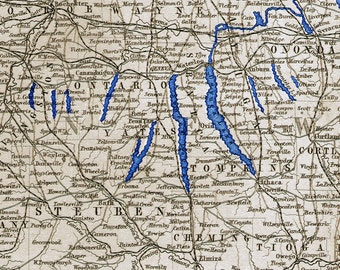 Finger Lakes of NY - Original work based on the NY map from the 1867 Black's Atlas