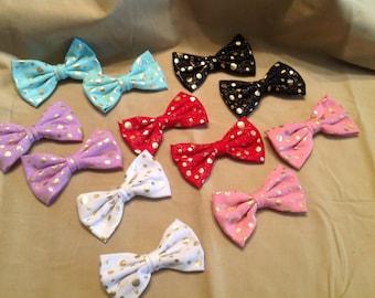 Polka dot bow hair clip