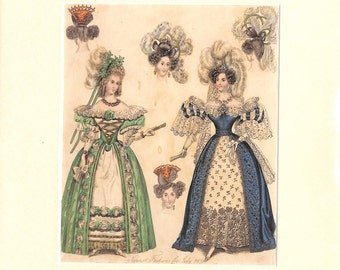 Fashion Print, Gowns, Hats, Antique Matted Print, 1831
