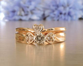Heart to Heart Engagement and Wedding Rings / Wife / Girlfriend / Birthday / Linked Ring / Transcend Fine Jewelllery SK VRLEWSYD-2-001
