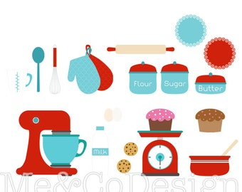 Baking Clipart, Red and Blue Clipart, Retro Kitchen Instant Download, Personal and Commercial Use Clipart, Digital Clip Art