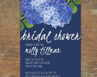 Bridal Shower Blue Hydrangea Invitation, Printable, Customizable