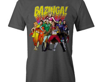 Big Bang Theory BAZINGA Superhero Cast Sheldon Cooper T-shir