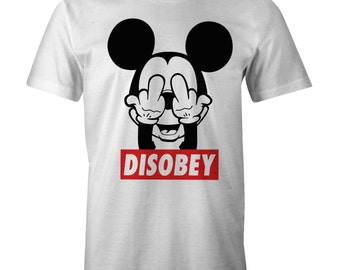 DISOBEY Mickey Rude Fingers T-shirt Obey Skaters Swag Funny