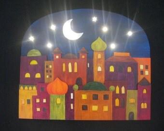 City light, wood image with lighting, night light, Oriental city