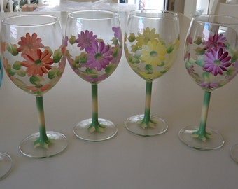 Set of 6 Hand Painted Mixed Colour Daisy Wine Glasses