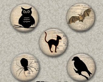 "Halloween Animals 5 Button Set 1.25"" or Larger Pinback Button, Flatback or Fridge Magnet, Badge, Owl, Bat, Cat, Bird, Spider, Raven"