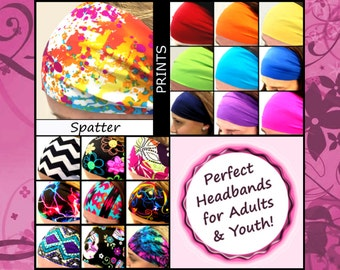 Colorful Wide Thin Cheap Headbands Yoga Workout Sports Parades Costume [Spatter]