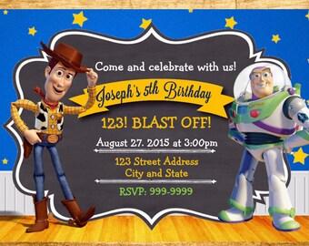 Toy Story Invitation - Toy Story Birthday Invitation - 24 hour service  - Chalkboard