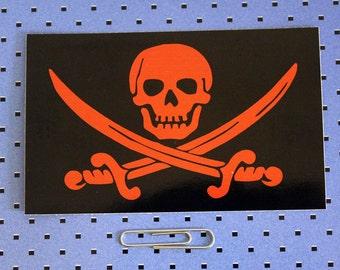 Red Jolly Roger Flag Skull And Crossbones Bumper Sticker