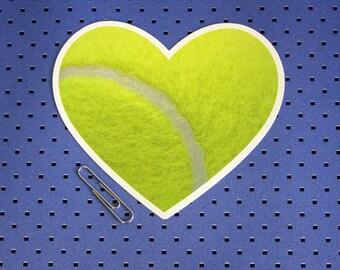 I Love Tennis Bumper Sticker - Tennis Ball Heart