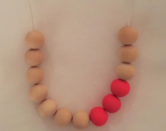 Wooden bead necklace // Neon Pink // wooden necklace  // hand painted in hot pink with natural beads