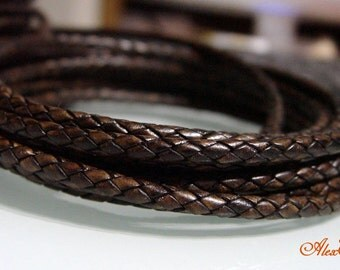 1 Meter of 4 mm Natural Antique Brown Braided Leather Cord. LB4-02
