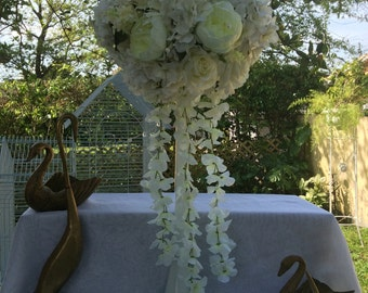 Eiffel Tower centerpiece all colors available silk roses flowers wedding receptions elegant ivory white peony quality