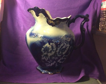 Vintage Pitcher Blue with gold trim by Victor, England