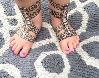 Girls Gladiator Sandal, Newborn baby Gladiator Sandals, Barefoot Sandals for babies, Baby Sandals, Cheetah Print