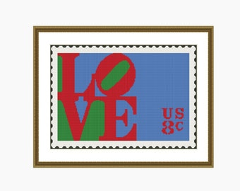Cross Stitch Pattern, Modern Cross Stitch, - LOVE Stamp cross stitch pattern - Instant Download PDF
