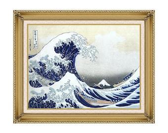 Framed Asian Art The Great Wave at Kanagawa Katsushika Hokusai Canvas Wall Print Painting Reproduction - Sizes Small to Large