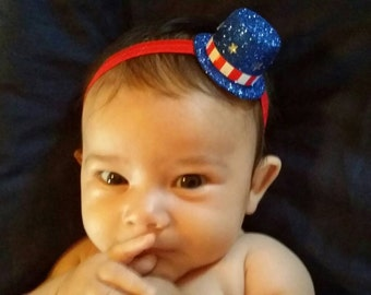 Fourth of July headband and barefoot sandals, baby hairbow and foot less sandals, baby headband, 4th of july, baby girl, newborn hairbow