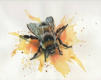 """watercolor bumble Bee Print """"Nectar"""" 25% off! Limited time only!"""