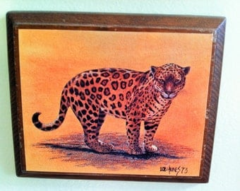 Bob Haynes Jaguar Woodblock Painting