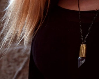 Bullet necklace Agate necklace Silver agate pendant Long bullet pendant Real bullet necklace Real bullet pendant Long bullet necklace
