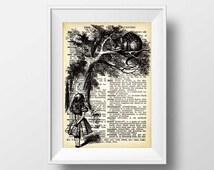 Alice in Wonderland Print - Alice in Wonderland dictionary Art wall decor Instant Download