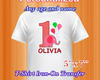 Elephant Birthday Iron on Transfer, Elephant Birthday Shirt, Personalized, PDF