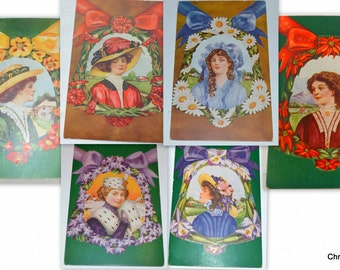 Artist Signed Postcard Set Avery Girls Six Cards Victorian Beauties with Floral Blooms