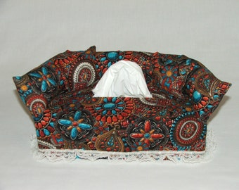 Southwest Medallions fabric tissue box cover.