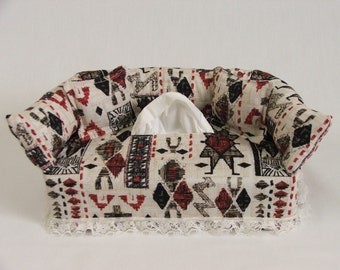 Southwest Red & Black fabric tissue box cover.