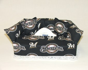 Milwaukee Brewers MLB Licensed fabric tissue box cover.