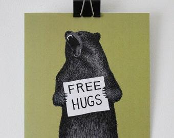 Bear card - 'Free Hugs' - Bear - Hand drawn card
