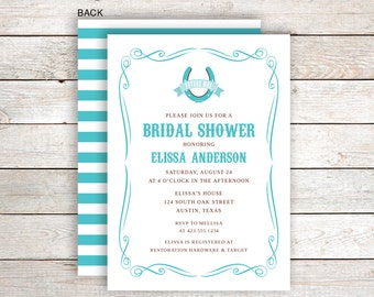 Custom Printed Teal Western Bridal Shower Invitation