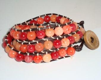 Orange Bead Leather Wrap Bracelet, Triple Wrap