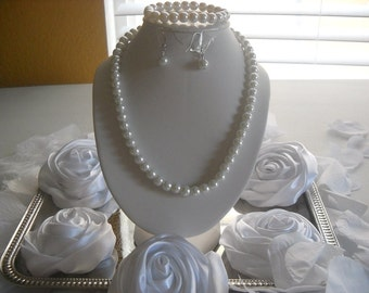 Wedding Bridal Bridesmaid White Or Cream 8mm Glass Pearl 3pc Necklace Set