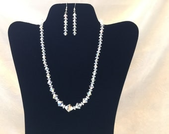 Clear Aurora Borealis Crystal Beaded Necklace and Earring Set