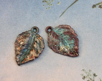 Golden Bronze Patina Leaves ~ 1 pair 25 mm x 20 mm Hand Patinaed Copper Leaves // Rustic // Kelly Green Patina