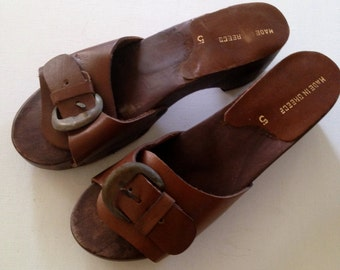 Vintage 50's 60's Genuine Leather and Wood Made in Greece Wedge Sandals