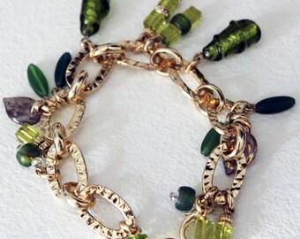 Lime Charm bracelet in Murano glass handmade