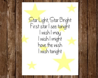 Printable 8x10 Quote - Instant Download: Star Light Star Bright