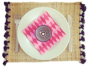 Moroccan placemats with tassels - set of 2