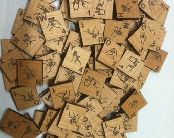 Alder Wood BSL British Sign Language Scrabble Tiles
