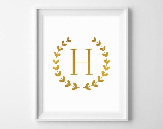 Letter h monogram instant download printable wall art - Initial letter wall decor ...