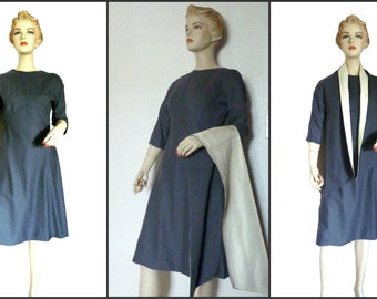1960's Vintage Charcoal Wool Dress - Gray Wool Dress with Shawl