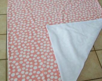 Pink  Poke-a-dot with white back 100% fleece Throw Blanket