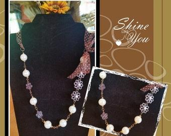 Beaded Ribbon Necklace