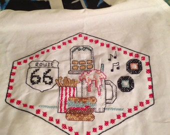 Route 66 Apron hand embroidered 50's Diner Fun